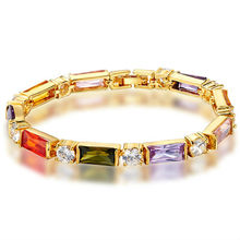 Girl Dress Latest Fashion Charm Gold Multi Color Crystal Tennis Zinc Alloy Bracelet