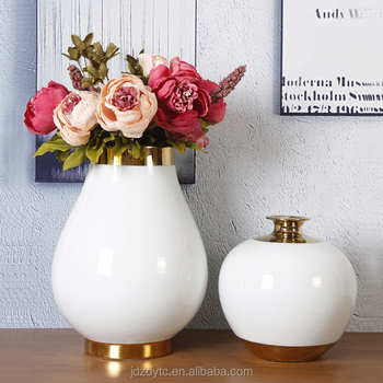 Jingdezhen factory made small white gild clay amphorae vase CY.S.0262