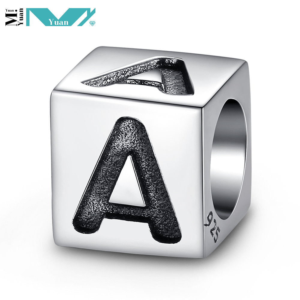 Silver Letter Alphabet Initial Dice Cube Bead for Fashion Charm Necklace