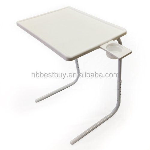 Table Mate II Folding Portable Adjustable Table With Cup Holder