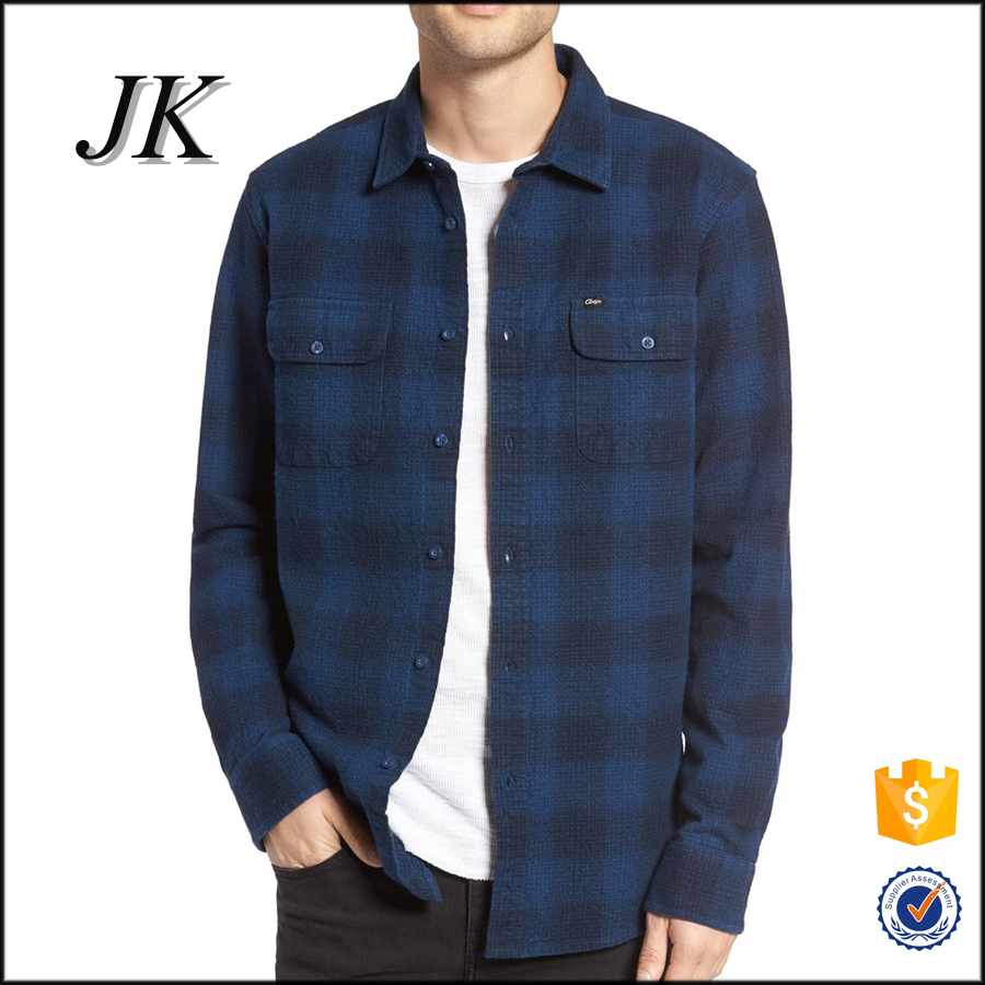 New Stylish Custom Gents Long Sleeve Blue Checked Oversized Flannel Shirts