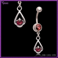 Fashionable 14 Gauge Surgical Steel Gem Paved Body Jewelry Vibrating Navel Rings