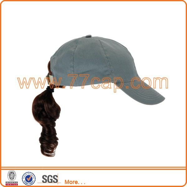 Adult denim fabric baseball cap wigs for sale