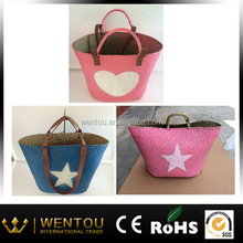 star printing hand made straw promotional beach bag