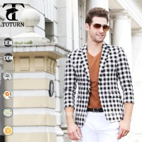 fashion plaid design middle sleeve man suit office uniform