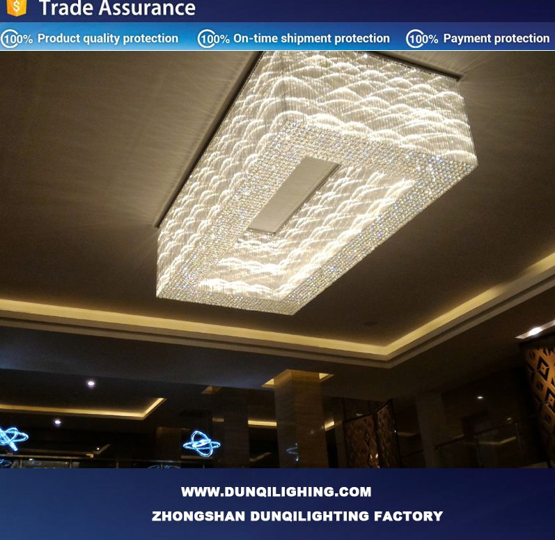 Cheapest &popular Italy design Square big hotel crystal ceiling lighting with CE UL SAA UL Certification