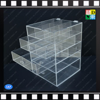 Cheap acrylic makeup organizer with 4 drawers plexiglass cosmetic boxes