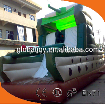 New inflatable dry slide/ inflatable rock climbing wall/Tank design slide