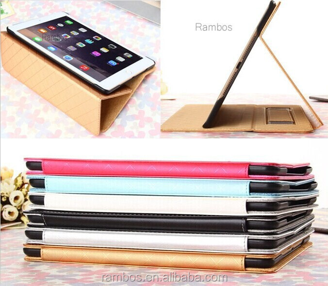 Check Grain Handheld Folio Stand PU Leather Flip Cover Case for iPad 6 for iPad Air 2