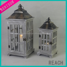 wood candle hurricane lantern with magnetic