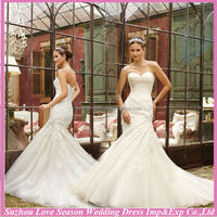 WD4241 2014 new arrival OEM service china suzhou alibaba latest design cheap organza appliqued mermaid plus size wedding dress