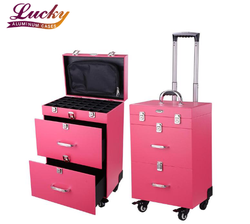 4 -wheels professional Rolling beauty pink color with drawer nail make up case