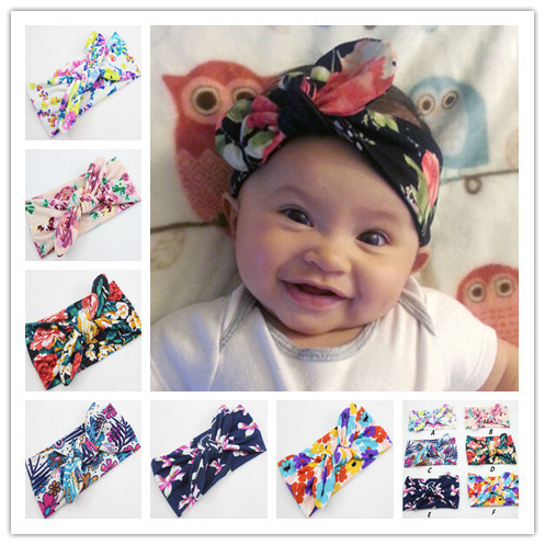 Newest Style Sweety Baby Kids Girl Infant Flower Hairband Turban Knot Rabbit Headband Headwear for Children Hair Accessories