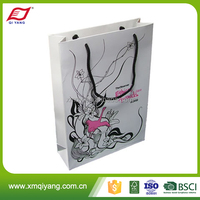 New style reusable folding craft paper shopping bag with twisted rope handle