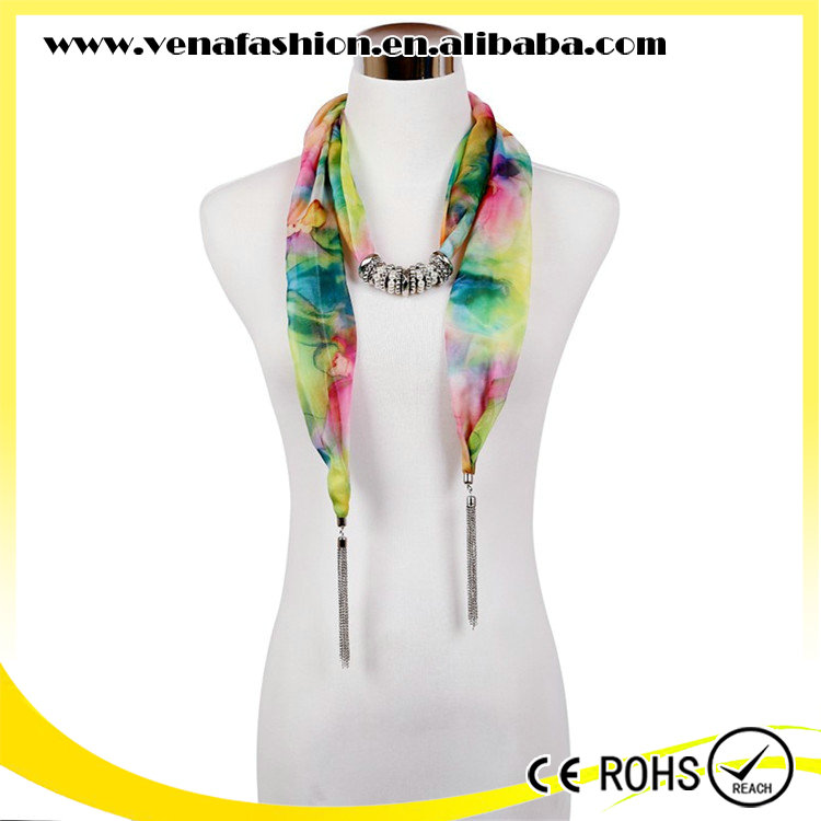 mix colors tassel flower pattern jeweled scarf necklace