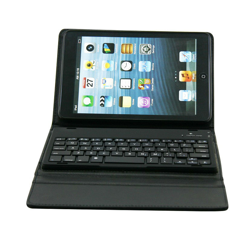 Bluetooth Leather Keyboard Case for iPad Mini
