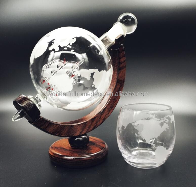 New Fancy Etched World Globe Round Drinking Glass With Round Bottom