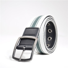 popular informan casual mens canvas and pu padded belt with pin buckle double face OED