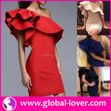 One shoulder red designer one piece short mini party dress for young ladies