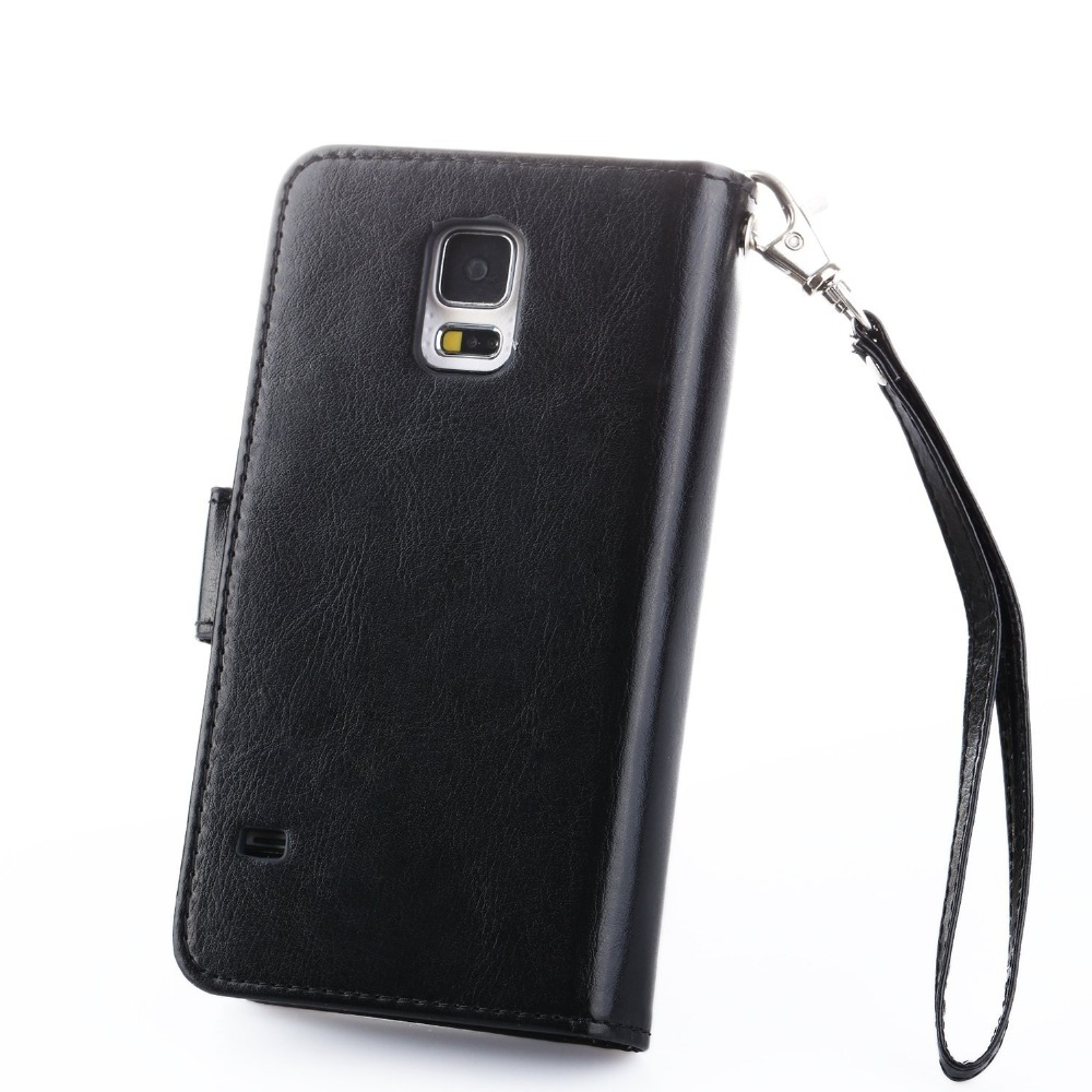 Pu Leather Wallet Credit Card Slot Cell Phone Case For Galaxy S5