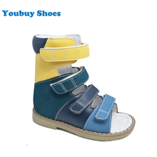 Higest solid back heel medical orthopedic shoes for kids boys flat summer leather sandal with arch support sole