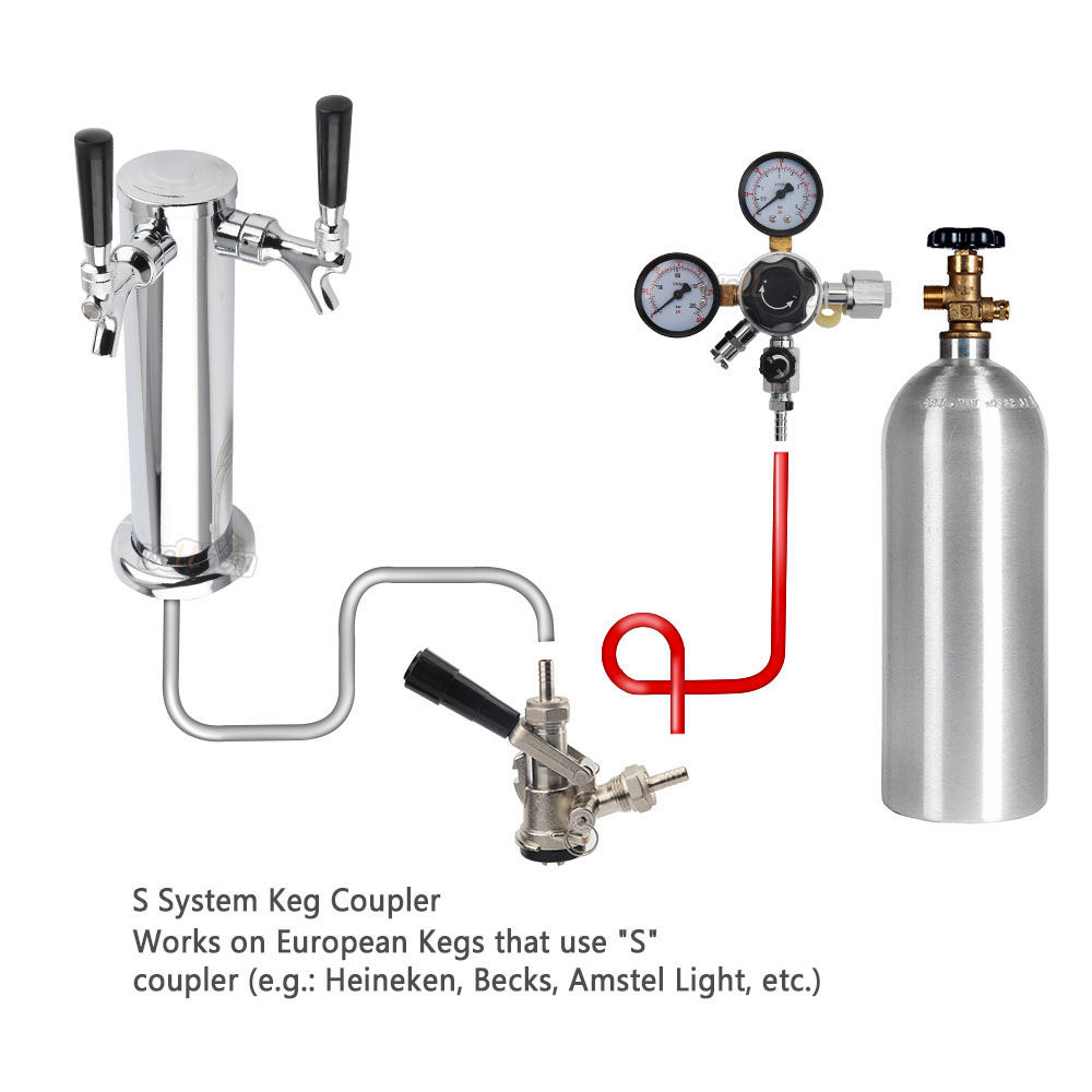 CO2 Gas Regulator CGA320 Dual Gauge with 5/16'' Barbed Shutt off Valve for Homebrew Soda Draft Beer