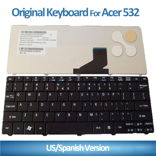 Laptop keyboard for acer laptop keyboard layout D255 D260 D257 532 532h 521 BR Black laptop keyboard