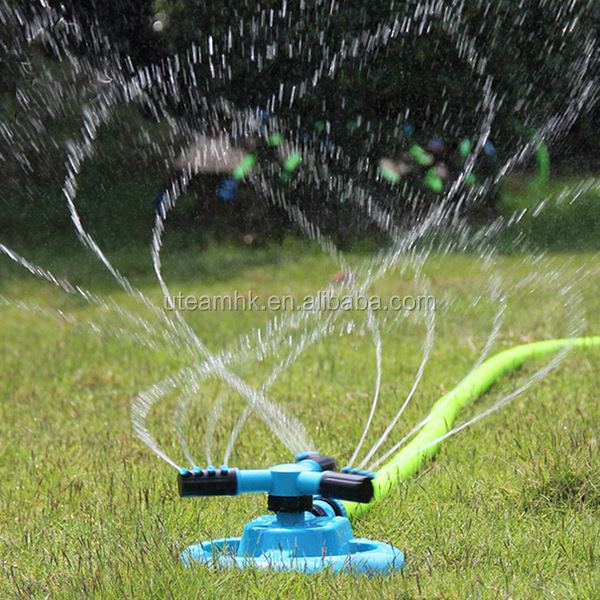 Garden Adjustable Water Circular Sprinkler 3 Arms Automatic 360 Degree Rotation Long Range Impulse Irrigation System