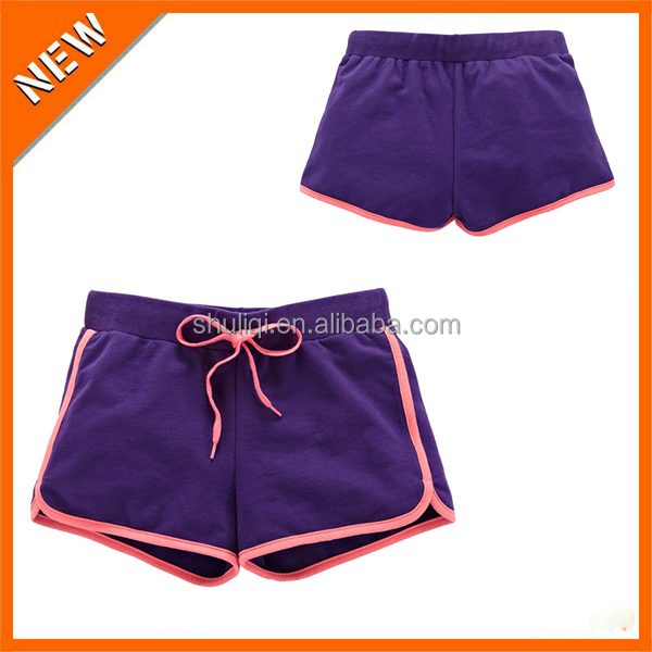 Cotton gym shorts 100% COTTON womens gym wear girl neon blue sex hot super short