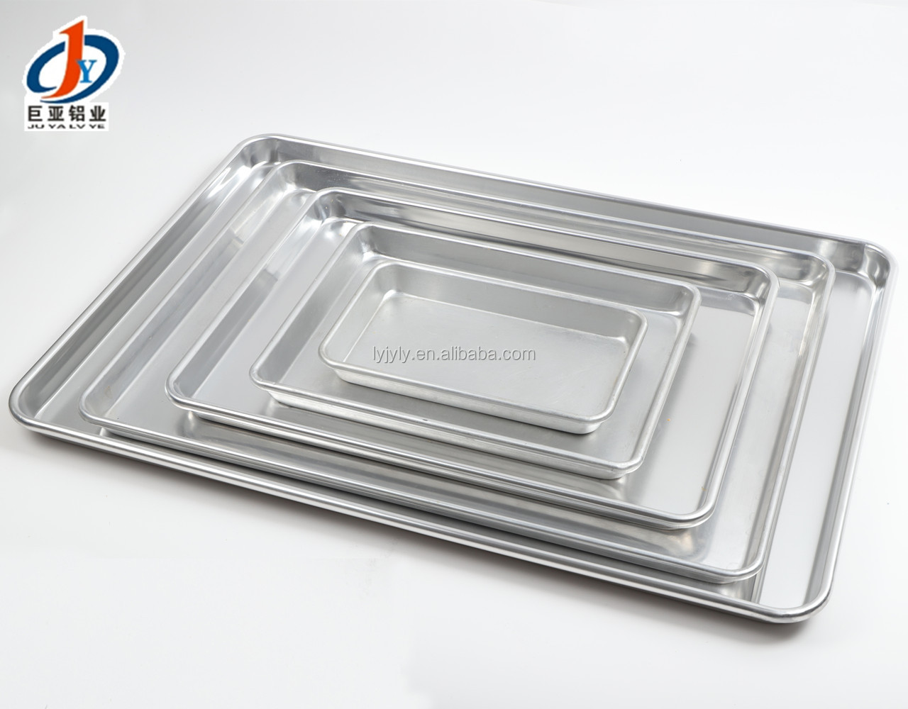 "Bakery Oven Use 3003 18 Gauge Half Size 13""x18"" Inch 1/2  Iron Wire Curled Rim Aluminum Alloy Baking Tray Sheet Pan"