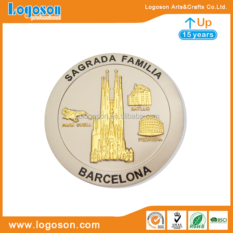 Custom Made Barcelona Magnet with Golden Plating Metal Magnet Souvenir Makers