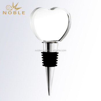 Beautiful Heart Shaped Crystal Wine Stopper for Wedding Gifts
