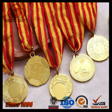 Custom running sports award gold medal with yellow red ribbons