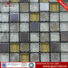 300*300mm glass stone and stainless steel mosaic tile