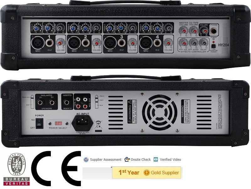 Audio mixer,CE Certified HY-204 120W Professional Public Address Power Mixer,4-Channels