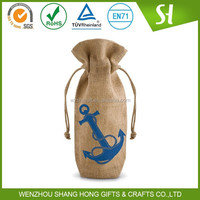 wholesale jute wine bottle bags with drawstring