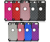 Hot Sell 3 in 1 Hybrid Silicone+PC Plastic Rugged Combo Case Bling Diamond Back Cover For iPod Touch 5 5th Protective Shell