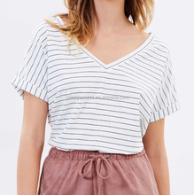 MIKA27081 Fashion Lady Relaxed Fit Rolled sleeve Stripe T Shirt