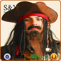 Halloween Party Cosplay Captain Pirate Party Wig With Hat