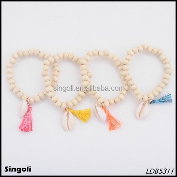 Fashion hot sell classic colorful wooden beads handmade tassel shell fish simple bracelet handmade beaded jewelry gif bijuterias