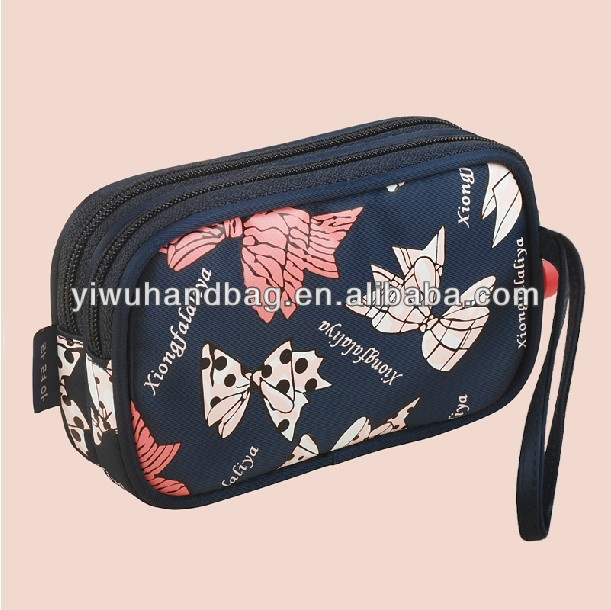 fashion holding two layers cosmetic bags