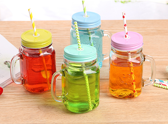 Mason Glass Drinking Jars 16Oz Mason Jar Glasses with Reusable Straws, Twist Lids & Handles