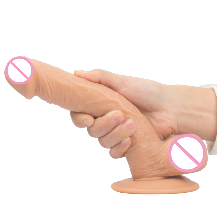 high Quality 8 inch length soft real rubber penis for female