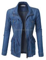 womens military anorak safari Jacket slim fitted drawstring women military jacket made in China