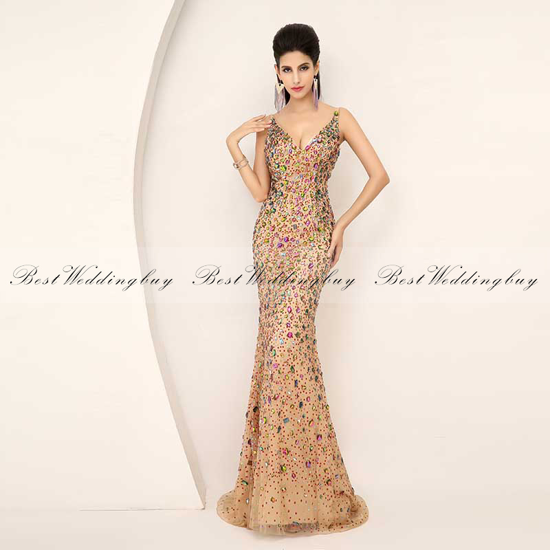 New Fashion Best Selling Luxury Crystal V Neck Zipper Back Sleeveless Champagne Tulle Mermaid Evening <strong>Dresses</strong> AJ016