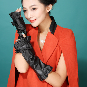 Wholesale ladies bow knot long sleeve half finger genuine leather gloves