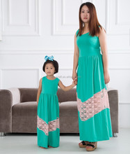 Latest mommy and me maxi dress wholesale woman 100% cotton long dress