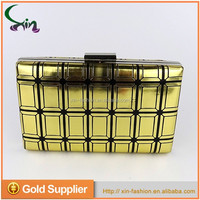 Luxury supple pu leather metal framed wallet clutch evening ladies dinner party bag