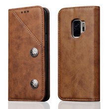 For Samsung Galaxy S9 Flip Cover Horizontal Bronze Texture Wallet PU Leather Case with Holder & Card Slots Retro Style