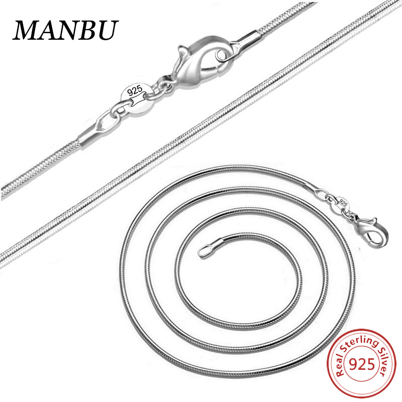 925 italian pure sterling silver chain plated snake necklace <strong>M001</strong>